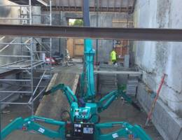 Spider Crane Hire - the Maeda MC285 is ideal for jobs where space is restricted