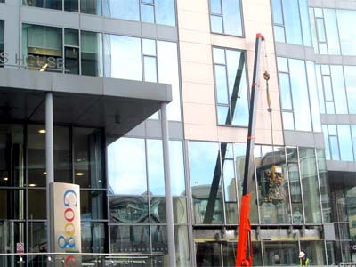 Liffey Crane Hire were involved in the glass installation of the Google Building in Dublin