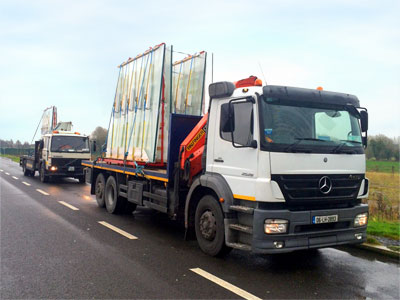 Specialised fleet of vehicles for Glass Transportation Services across Ireland